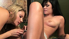 Wet panties adventure with hot blonde and brunette on the massage table