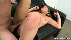 She gulps down his rod, gets boned and sucks again before getting drilled