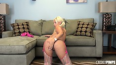 Big tittied blonde babe, Bridgette B exposes her big boobs and nice ass