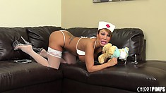 Ava Devine delivers a delicious dildo to her delectable pie hole