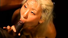 Asian blonde Maui Kane chokes down a big black cock on the couch