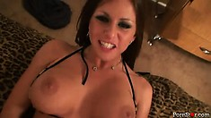 Rachel fingers her twat and then gets it drilled by his throbbing rod
