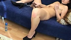 Delightful brunette with awesome tits Zoe has a tight shaved pussy yearning for pleasure