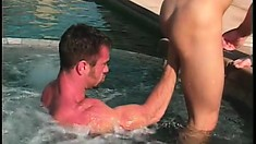 Jacked studs make out while fucking each other real deep and hard