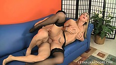 Fabulous cock-sucking slut Tanya Tate eats huge tasty doniker