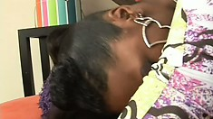 Slender ebony girl with a hot ass and perky tits finds it hard to resist a black rod