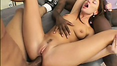 Gorgeous brunette with big tits seduces two black studs to fulfill her fantasies