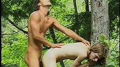 Hiker and cyclist hook up in the forest and explore their gay desires