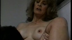 Busty mature lady spreads her sexy legs and welcomes a hard shaft deep in her pussy