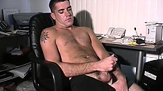 Horny stud Matt reveals his body and strokes his cock until he cums on himself