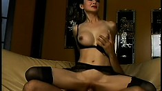 Nasty Asian milf with big boobs and long black hair loves anal action
