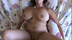 Brunette girlfriend with huge hooters gives POV blowjob and gets banged