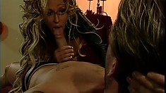 Fascinating blonde with big boobs and a perfect ass gets her holes drilled hard