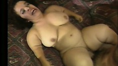 Busty brunette midget sucks a big dick and gets fucked deep on the bed