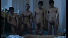 A bunch of horny young fuckers go down on each other's hard bones