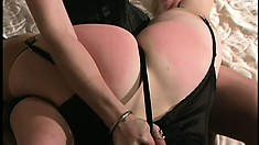 Crazy hot blonde mistress spanks a naughty girl until she squeals