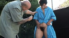 Brunette amateur with a hairy cunt gets fucked hard outdoors