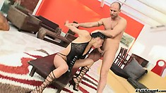 Naughty brunette takes a huge dildo and a stiff prick up her butt hole