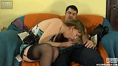 Charming naughty prostitute in black stockings Dorothy swallows dick of Adam