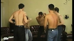 Eastern European gay jocks in a wild orgy tapping anything they can get