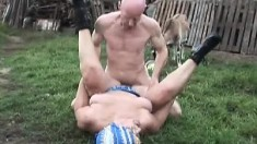 Lustful blonde granny blows and fucks a hard prick in the backyard