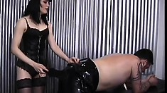Submissive guy Felix gets tied up and punished by his mistress