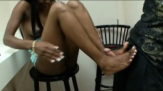 Sexy ebony Mia White backs her juicy cheeks onto a long white pole