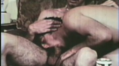 Hairy vintage lovers enjoy some nasty sucking and fucking in the bed