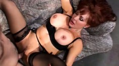 Redheaded mom with big melons entertains her son's best friend