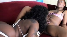 Hot ebony babes eat each other's wet pussies out in lesbian scene