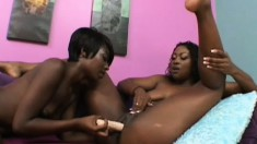 Filthy ebony lesbians have a collection of sex toys to help them cum
