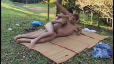 Cute twink pleases his own cock while his boyfriend punishes his ass