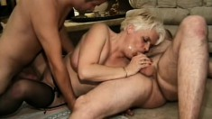 Kinky old lady likes having a lot of dicks to fill her loose holes