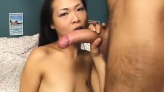Tiny Asian cutie goes for it all in every hole with a hard anal fuck and a mouthful