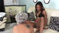 Slim black girl with a perky ass sticks a white dick in her ass and wildly fucks it