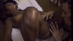 Sexy black schoolgirl has her horny white tutor pounding her tight hairy pussy deep