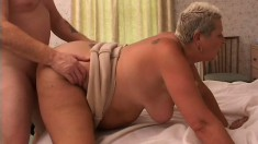 Fat old bitch gets her sagging tits sucked and her snatch plowed