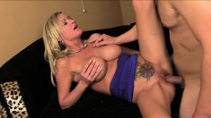 Big tit step mom Alison Kilgore gives her stepson a welcome to the family fuck