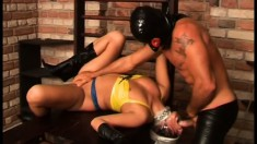 Ripped masked fucker likes to play with his lovely sex toy Katerina
