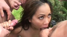 A truly dirty Asian babe wants these men to decorate her cake with cum