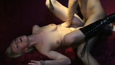 Luscious blonde with a sexy slim body loves to bounce on a hard shaft