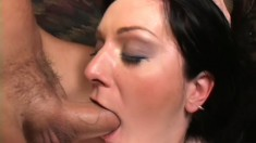 Sexy slim brunette has a big cock filling her anal hole and can't get enough of it