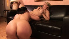 Sheila Marie gets into a lesbian fuck-session using a double-ended dildo