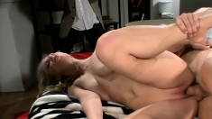 Beautiful blonde with big natural tits Natalie Norton gets banged deep