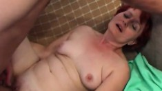 Luscious redhead mature can't get enough of a young stud's hard dick