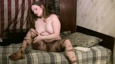 Big breasted chick in color pantyhose Eleonora pleases her aching cunt