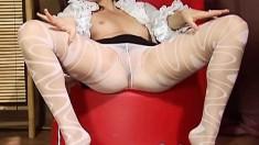 Sensuous Brunette In White Lingerie Helen Takes Care Of Her Desires