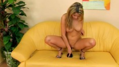 Foxy blonde wears red that she takes off to get to her love box