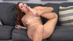 Redhead Rose plays with her hot body before she goes to work on his dick