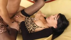 Foxy, busty tranny blows his meat before he slams it in her ass